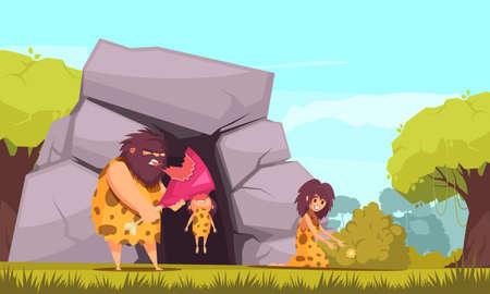 Primitive man cartoon vector illustration with caveman family dressed in animal pelts eating meat near their cave