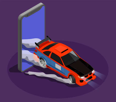 Car tuning isometric design concept symbolizing drift race by burnout car leaving screen of smartphone vector illustration