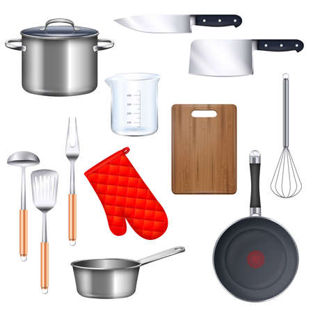 Kitchen utensils icons set with saucepan frying pan and knife realistic isolated vector illustration