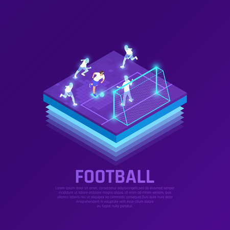 Man in vr headset and virtual players during soccer game isometric composition on purple background vector illustration Vetores