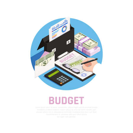 Accounting isomeric round composition with budget calculation on blue background vector illustration