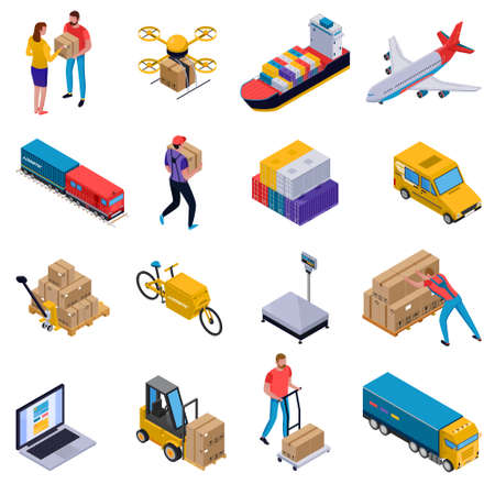 Isometric colorful set of icons with delivery transport loaders and couriers at work isolated on white background 3d vector illustration