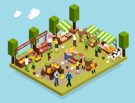 Farmer market isometric composition demonstrated counters with fresh meat vegetables honey and dairy produce vector illustration
