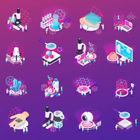 Nanotechnology isometric icons set if laboratory equipment carbon nanotubes micro chip implanted in human brain mono crystalline isolated vector illustration
