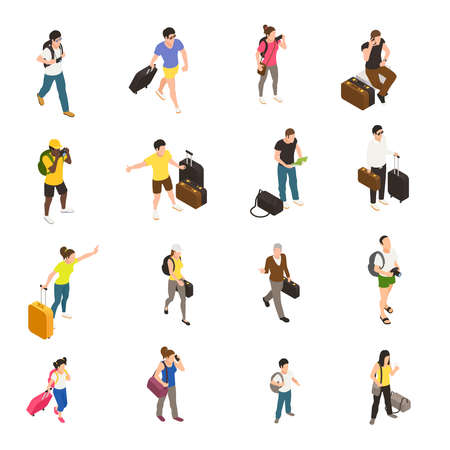 People with baggage and gadgets during travel set of isometric icons on white background isolated vector illustration