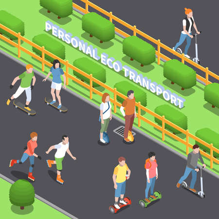 Personal eco transportation design with physical activity symbols isometric vector illustration