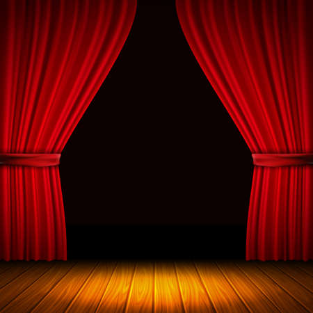 Modern composition with red curtain light and shade in the middle of curtains and wooden floor vector illustration Vektorové ilustrace