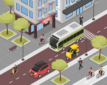 Eco city background with city transport and people isometric vector illustration
