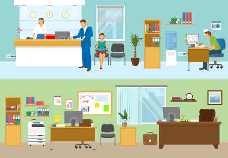 Modern office compositions with people at workplaces and nobody in green room isolated vector illustration