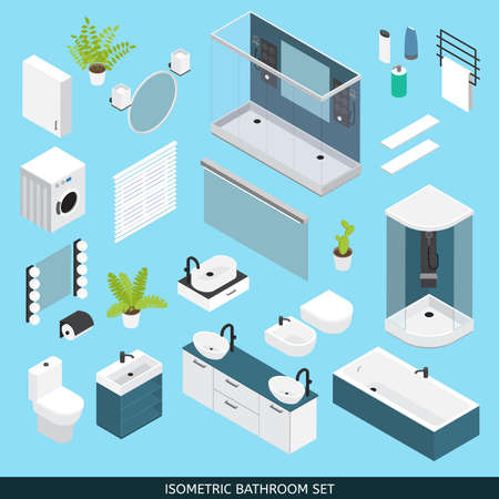 Bathroom colored isometric icon set with furniture and elements needed for repair vector illustration Vector Illustratie