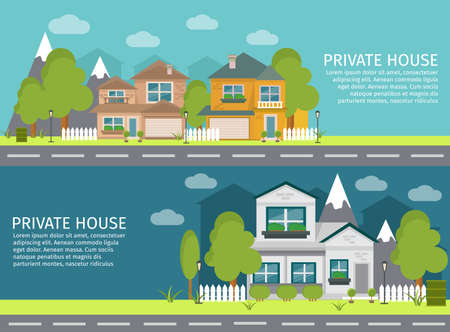 Two horizontal colored and isolated urban landscape banner set with private house headlines vector illustration Vetores