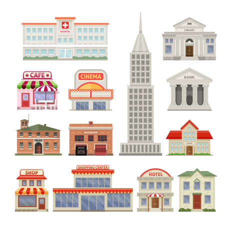 City buildings decorative icons set with administrative and residential constructions hotel cafe and cinema isolated vector illustration