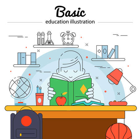 Basic education colored concept in linear style with child does his homework vector illustration