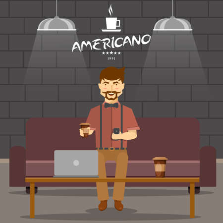 Hipster in coffee shop design with smiling man on sofa with beverage and smartphone vector illustration