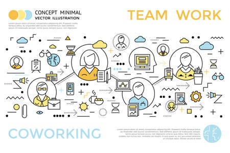 Colored coworking horizontal concept in linear style with title and descriptions about team work vector illustration