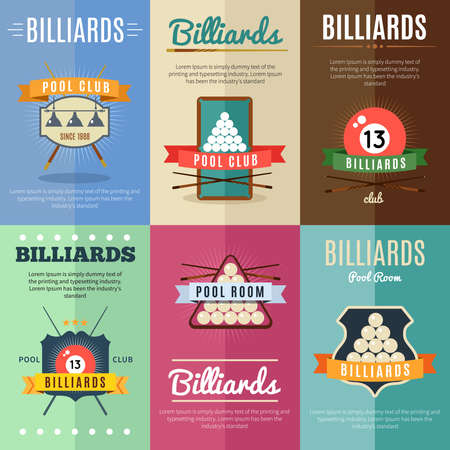 Six horizontal billiards illustration label set with ribbons and big titles pool room and club vector illustration