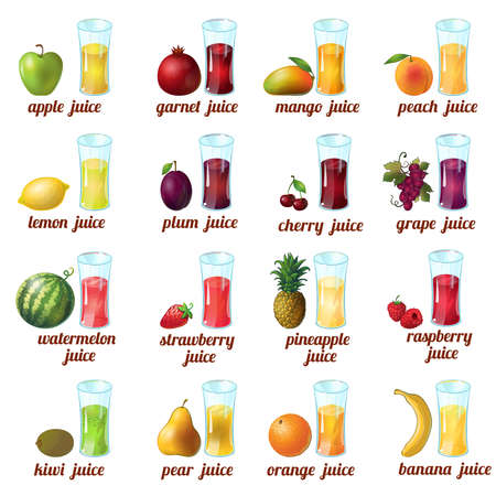 Colored and isolated fruits juice icon set with apple mango peach cherry grape orange banana and different juices vector illustration