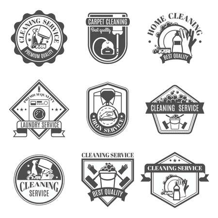 Isolated black and white cleaning emblems or stickers in different shapes and types with ribbons vector illustration