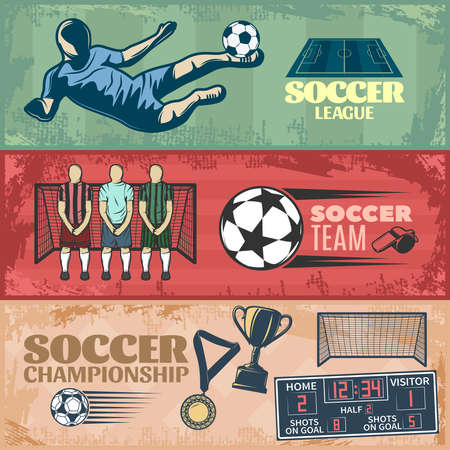 Soccer horizontal banners with team during penalty sports equipment trophies on grunge style background isolated vector illustration
