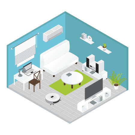 Appliances isometrics living room concept with carried out repairs everything is ready for living vector illustration