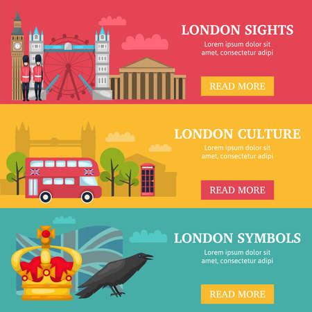 Three horizontal london banner set with London sights culture and symbols descriptions vector illustration Vektoros illusztráció