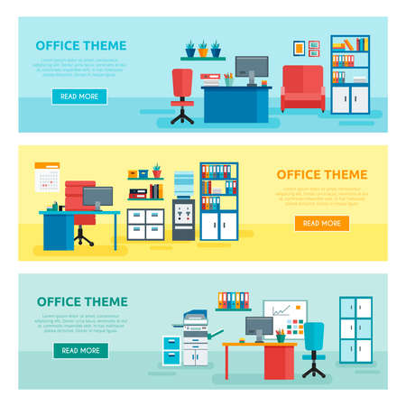 Three horizontal colored office banner set with office theme descriptions and buttons vector illustration Vektorové ilustrace
