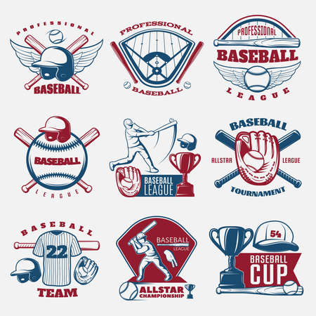 Baseball colored emblems of teams and tournaments with trophy sports field and outfit isolated vector illustration Vecteurs