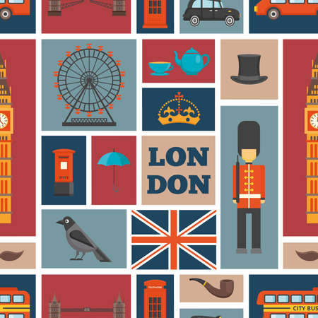 London seamless pattern with isolated square icons on uk theme and places of interest vector illustration