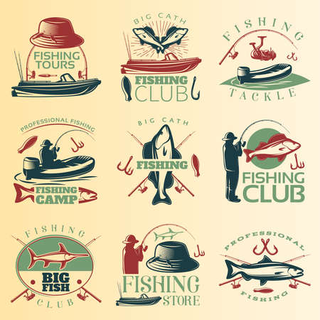 Fishing colored emblem set with fishing tours club tackle and camp descriptions vector illustration