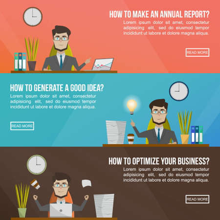 Business banner set with man in a suit asking questions like how to make an annual report how to generate a good idea and how to optimize your business vector illustration Ilustración de vector