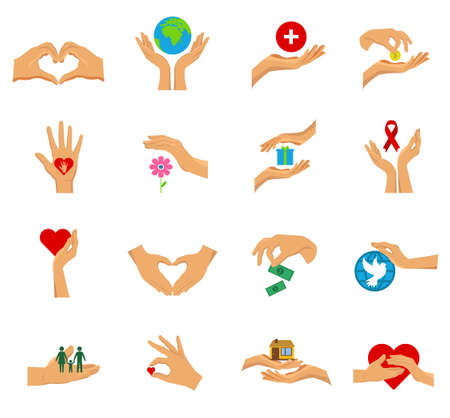 Flat isolated icon set with hands in different gestures symbols of charity care help and love vector illustration Ilustracje wektorowe