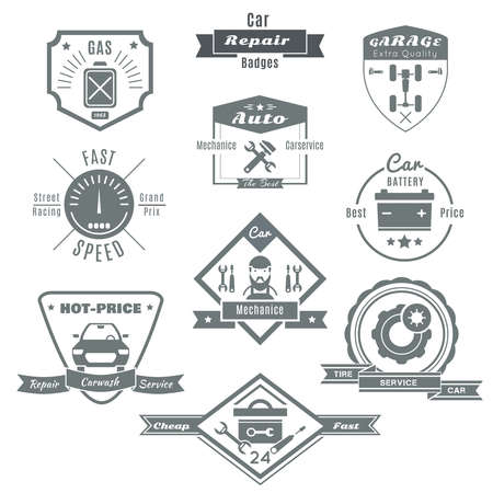 Car repair black white badges with automobile chassis mechanic tools speedometer fuel battery tires isolated vector illustration Vettoriali