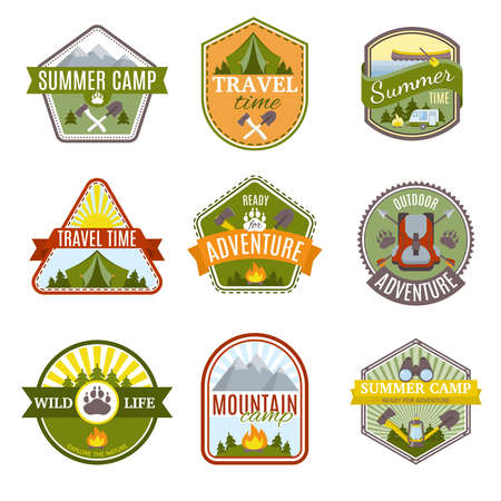Camping Icon Set with different types of hiking colored isolated emblems in different shapes vector illustration