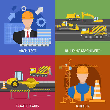 Construction industry compositions with architectural project building machinery road repairs worker isolated vector illustration Vetores