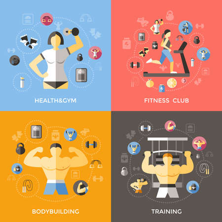 Lifestyle of bodybuilder concept with training fitness club sportive equipment gymnastics treadmill healthy diet isolated vector illustration Ilustracje wektorowe