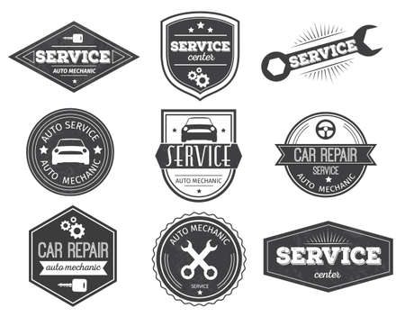 Auto service black white emblems with car steering wheel wrench gears key stars isolated vector illustration