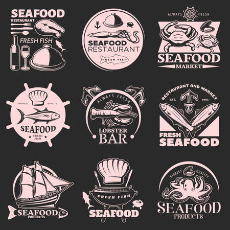 Seafood emblem set on dark with headlines fresh seafood fresh fish highest quality vector illustration