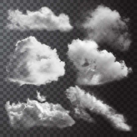 Realistic white clouds icon set with different shapes and sizes on transparent background vector illustration Vetores
