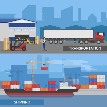Two horizontal flat logistic panorams banner set with transportation and shipping descriptions vector illustration Vecteurs
