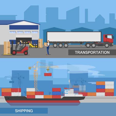 Two horizontal flat logistic panorams banner set with transportation and shipping descriptions vector illustration Ilustração Vetorial