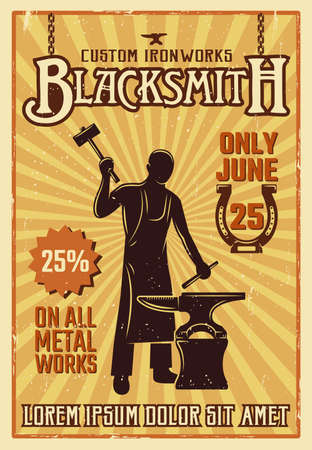 Blacksmith yellow poster or flyer with descriptions of custom iron works only june vector illustration