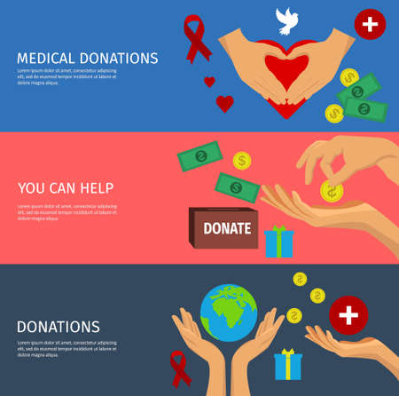 Flat horizontal banner set with various ways to help by charity or donation with hand isolated icons vector illustration Ilustracje wektorowe