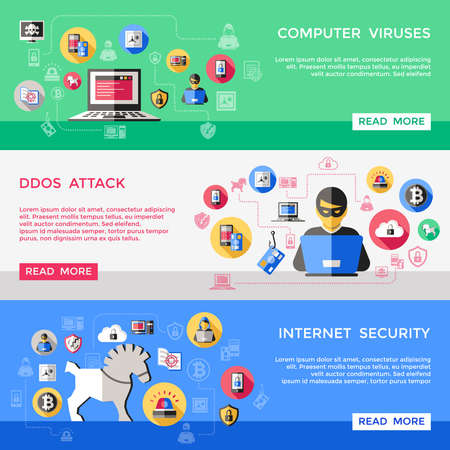 Internet security horizontal banners set with computer viruses spam attack hacker files protection isolated vector illustration