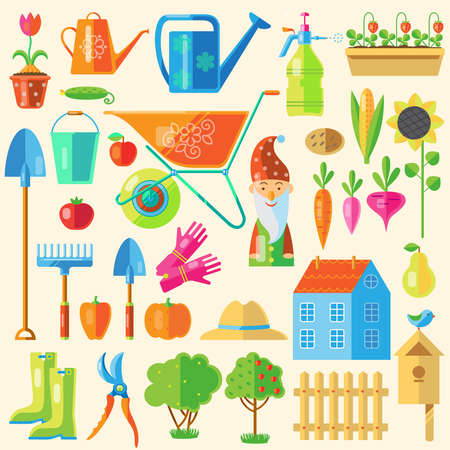 Colored icon set with devices for arranging and garden decoration and other attributes including the harvest