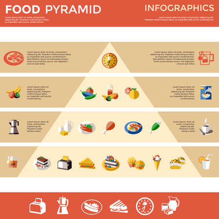 Food pyramid infographic with food and drinks divided into types and preferences vector illustration