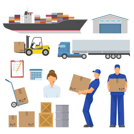 Logistics decorative flat icons set with ship warehouse loader truck trolley operator workers goods isolated vector illustration Vettoriali