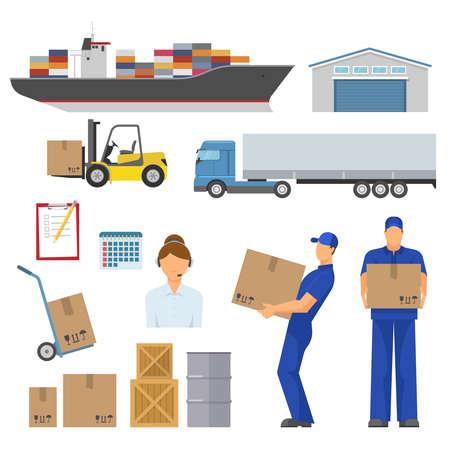 Logistics decorative flat icons set with ship warehouse loader truck trolley operator workers goods isolated vector illustration Vektoros illusztráció