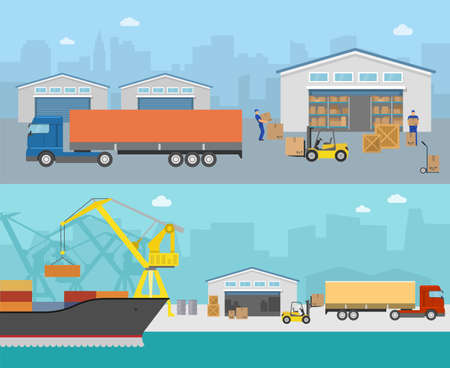 Goods shipment panoramas with loading in truck moving cargo at port on city backgrounds isolated vector illustration Vektorgrafik