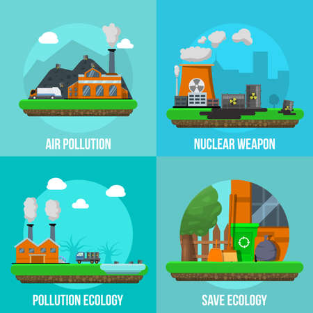 Environmental pollution colored icon set with descriptions of air pollution nuclear weapon pollution ecology and save ecology vector illustration Vector Illustration