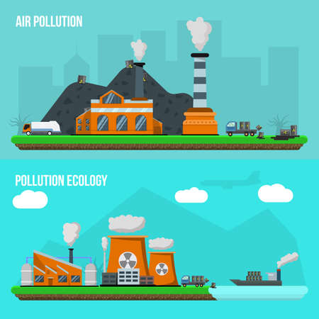 Two horizontal environmental pollution banner set with descriptions of air pollution and pollution ecology vector illustration